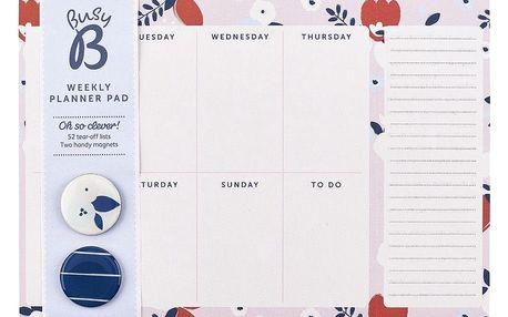 Busy B Týdenní kalendář s magnetky Pretty, modrá barva, papír