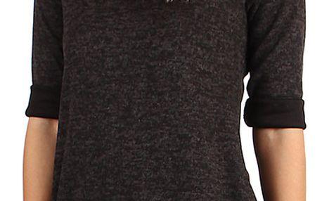 Dámské úpletové šaty s 3/4 rukávem černá