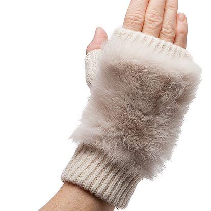 Béžové bezprsté rukavice Winter s kožíškem