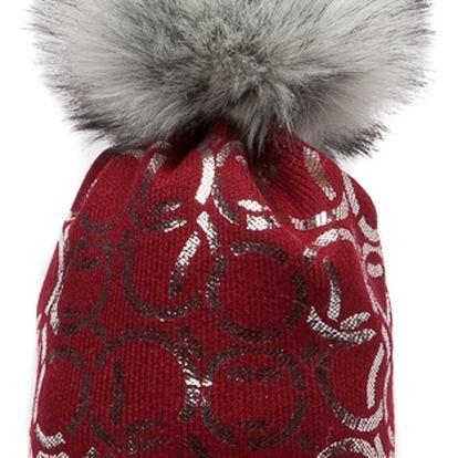 Červená čepice Woolk se spojenými stříbrnými kroužky s šedou bambulí