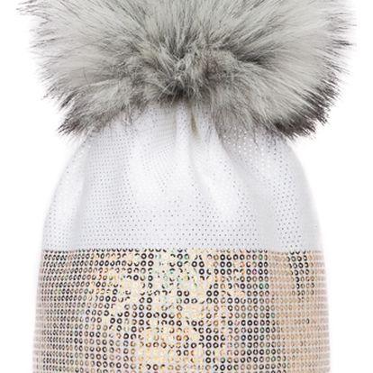 Bílá čepice Woolk s šedou bambulí a flitry