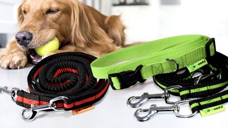 Sportovní vodítka pro psy: 2 druhy, 4 barvy i pás