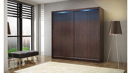 Kvalitní šatní skříň KOLA 2 wenge šířka 180 cm Včetně LED osvětlení