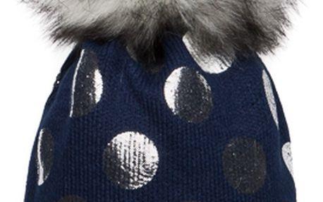 Tmavě modrá čepice Woolk s melírovanou bambulí a stříbrnými puntíky