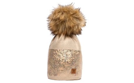 Béžová čepice Woolk s hnědou bambulí a flitry