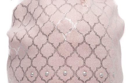 Růžová čepice Perfect se stříbrným vzorem a růžovou bambulí