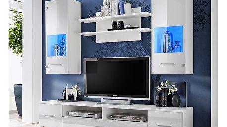 RENNO, obývací stěna, bílá/bílý lesk