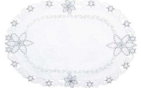 Forbyt Vánoční ubrus Vločky smetanová, 40 x 90 cm