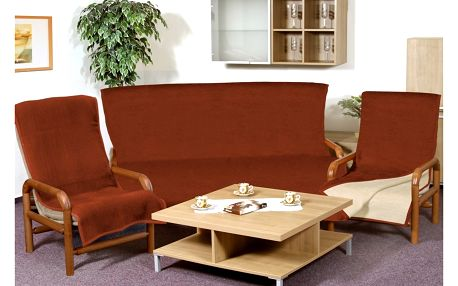 Bellatex Přehozy na sedací soupravu Kira terra, 150 x 200 cm, 2 ks 65 x 150 cm