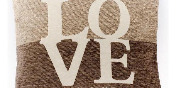 Dakls Povlak na polštářek Love hnědá, 45 x 45 cm
