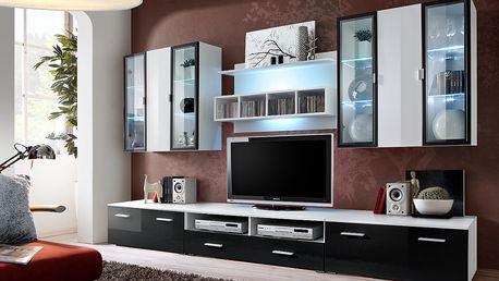 Obývací stěna QUADRO, bílá matná/bílý a černý lesk