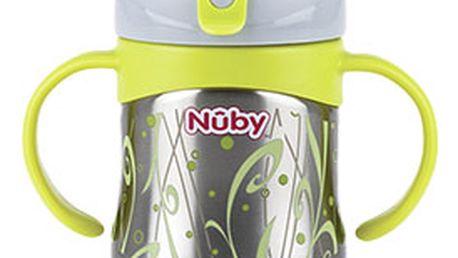 NUBY Termo hrneček nerezový s měkkým náustkem a s ouškama, 6m+ (220 ml)