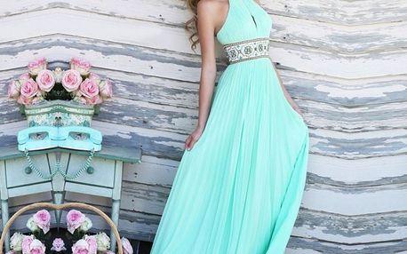 Plesové šaty v tyrkysové barvě