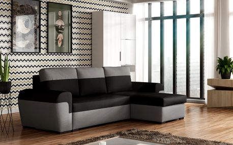 Rohová sedačka FILO, černá látka/šedá látka