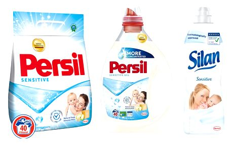PERSIL + SILAN Sensitive Prací prášek 2,8 kg, Prací gel 2 l, Aviváž 925 ml