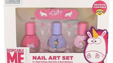 Minions Unicorns dárková kazeta pro děti lak na nehty 3 x 4 ml + pilník 1 ks + samolepky na nehty