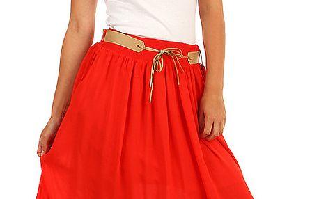 Dámská romantická maxi sukně s kapsami červená