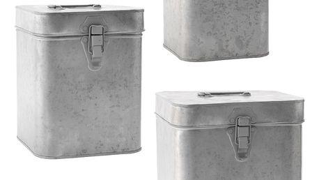 MADAM STOLTZ Zinkový úložný box Velikost S, šedá barva, zinek