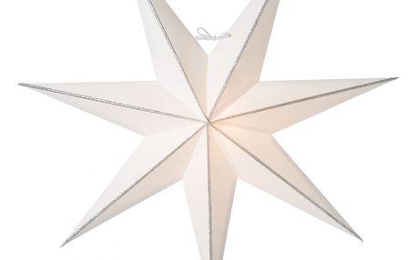 watt & VEKE Závěsná svítící hvězda Linje Silver 60 cm, bílá barva, stříbrná barva, papír