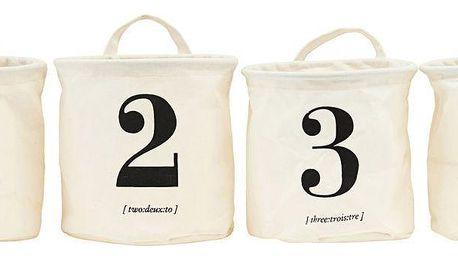 House Doctor Úložný košík - set 4ks, černá barva, krémová barva, plast, textil