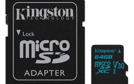 Kingston Canvas Go! MicroSDXC 64GB UHS-I U3 (90R/45W) + adapter (SDCG2/64GB)