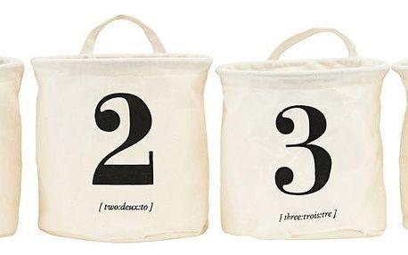 House Doctor Úložný košík - set 4ks, černá barva, krémová barva, plast, textil - HOUSE DOCTOR Sada 8 ks Bílé úložné pytle 1 2 3 4