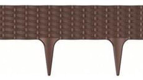 Prosperplast Travní lem Rattan hnědá, 390 cm