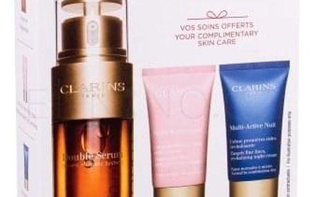 Clarins Double Serum dárková kazeta proti vráskám pro ženy pleťové sérum 30 ml + denní pleťová péče Multi-Active 15 ml + noční pleťová péče Multi-Active 15 ml