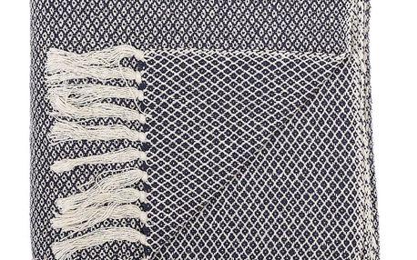 Bloomingville Přehoz Blue Cotton 160x130cm, modrá barva, textil