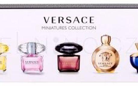 Versace Mini Set 3 dárková kazeta pro ženy edp Dylan Blue 5 ml + edp Eros Pour Femme 5 ml + edt Crystal Noir 5 ml + edt Bright crystal 5 ml + edt Yellow Diamond 5 ml miniatura