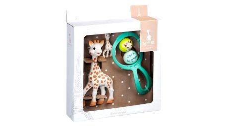 VULLI Dárkový set Žirafa Sophie pro novorozence (Žirafa Sophie, klíčenka, chrastítko)