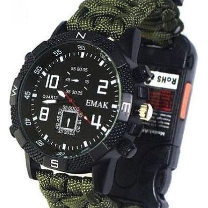 Taktické paracord hodinky s kompasem Rocky