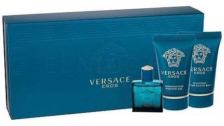Versace Eros dárková kazeta pro muže toaletní voda 5 ml + sprchový gel 25 ml + balzám po holení 25 ml miniatura