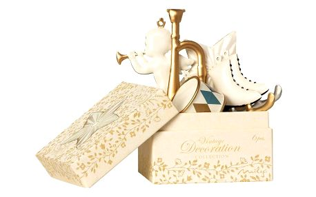 Maileg Vánoční ozdoby White Gold - 6 ks, bílá barva, zlatá barva, kov