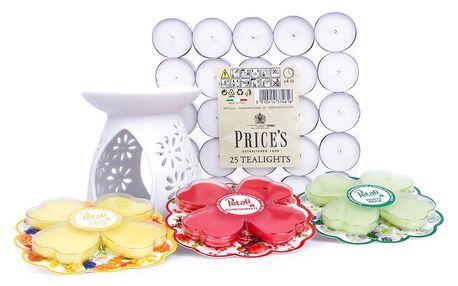 Petali Sada aromalampy, 3 vonných vosků a 25 čajových svíček
