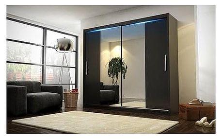 Kvalitní šatní skříň KOLA 4 černá šířka 180 cm Bez LED osvětlení