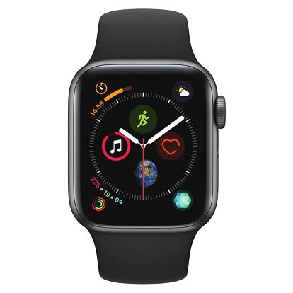 Apple Watch Series 4 GPS 40mm pouzdro z vesmírně šedého hliníku - černý sportovní řemínek CZ verze (MU662HC/A)