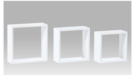 Nástěnné poličky PP-008 WT2, sada 3 ks, matná bílá