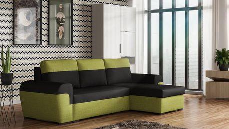 Rohová sedačka FILO, černá látka/zelená látka