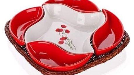 Banquet Mísa v košíku Red Poppy 5 dílů OK 28cm