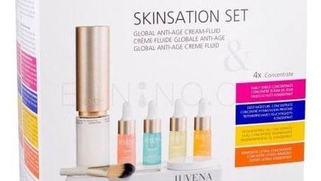 Juvena Skin Specialists Skinsation Global Anti-Age Cream-Fluid dárková kazeta Náplň proti vráskám W omlazující fluid 50 ml + ochranné sérum 10 ml + hydratační sérum 10 ml + regenerační sérum 10 ml + liftingové sérum 10 ml + podstavec + miska + štetec