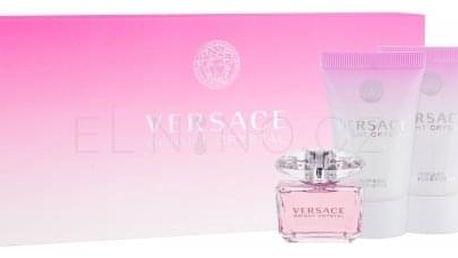 Versace Bright Crystal dárková kazeta pro ženy toaletní voda 5 ml + tělové mléko 25 ml + sprchový gel 25 ml miniatura
