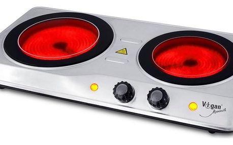 Dvouplotýnkový sklokeramický vařič VIGAN SKV2X, nerez