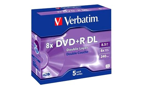 Verbatim DVD+R DualLayer, 8,5GB, 8x, 5ks (43541)