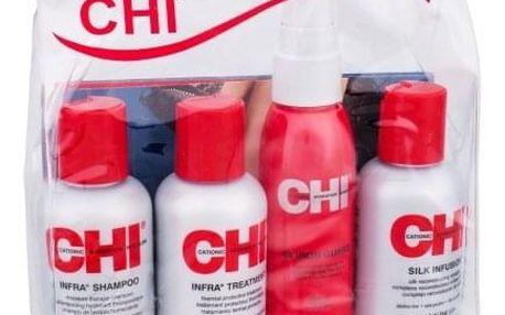 Farouk Systems CHI Infra hydratační šampon pro ženy šampon 59 ml + balzám na vlasy 59 ml + ochranný sprej na vlasy 44 Iron Guard Thermal Protection Spray 59 ml + regenerační péče CHI Silk Infusion 59 ml