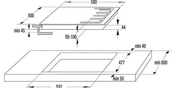 Plynová varná deska Mora VDP 645 GB3 černá/sklo3