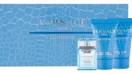 Versace Man Eau Fraiche dárková kazeta pro muže toaletní voda 5 ml + sprchový gel 25 ml + balzám po holení 25 ml miniatura
