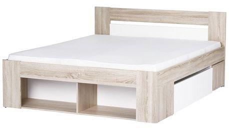MIILO, postel 160x200 cm, dub sonoma/bílá
