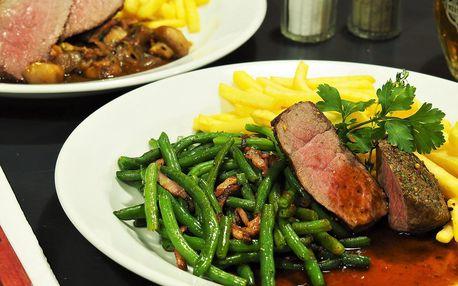 Vyzrálý hovězí steak podle výběru v centru Brna