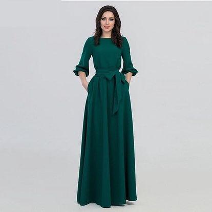 Dlouhé zelené šaty s delším rukávem